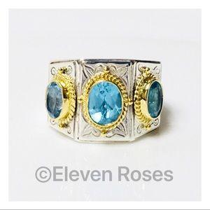 Konstantino Sterling & 18k Blue Topaz 3 Stone Ring